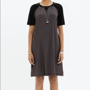 Madewell Colorblock Dress in Gray and Black